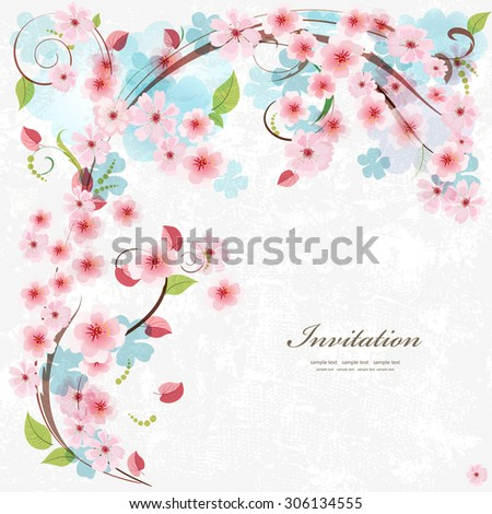 Cute invitation card with blossom cherry. With love for your design. - stock vector