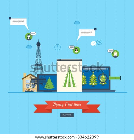 Cute invitation card with winter city life and space for text. Merry Christmas greeting card design. Paris Christmas winter. Vector illustration. - stock vector