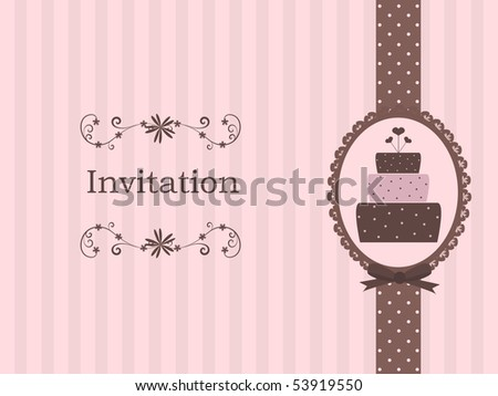 cute invitation with cake - stock vector