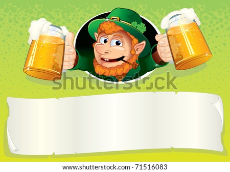 Cute Irish Leprechaun with mugs of green ale, St Patrick's Day festive vector illustrated background or placard with blank banner for your text and greetings