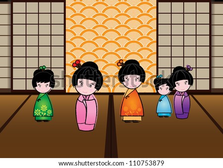 Cute Japanese Dolls Characters - stock vector