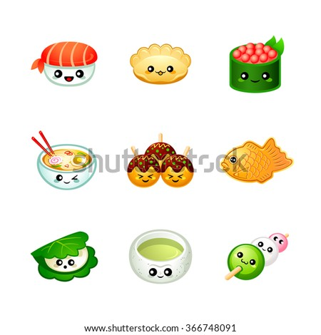 Cute Japanese festival and street food icons - stock vector