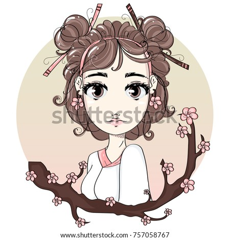 Cute Japanese Girl With Sakura Tree Branch Anime Cartoon Character Comics Portrait Young