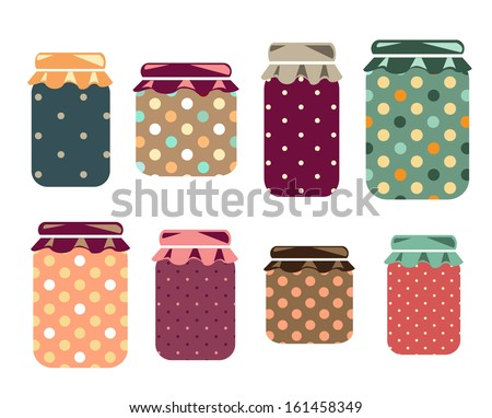 Cute Jars - stock vector