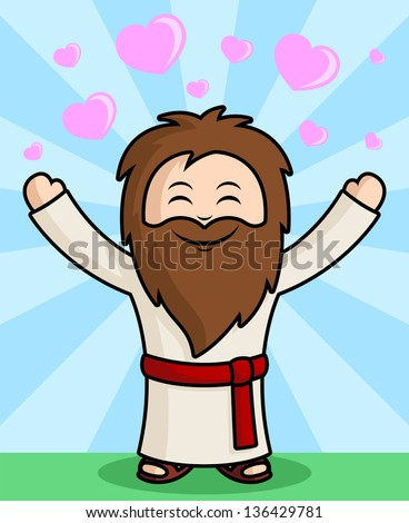 Cute Jesus Character spreading the Love - with hearts & Star burst in background - stock vector