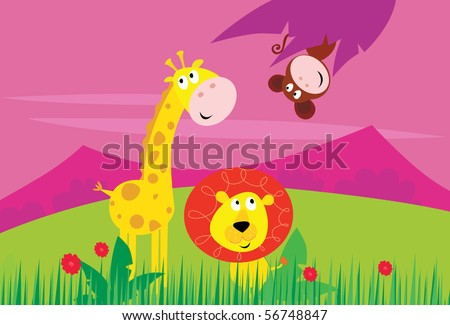 Cute jungle animals - yellow giraffe, funny tiger and little monkey behind palm leaf. - stock vector