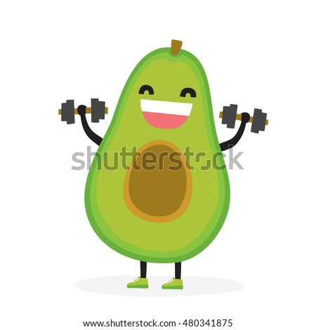 Cute kawaii avocado bodybuilder isolated vector illustration
