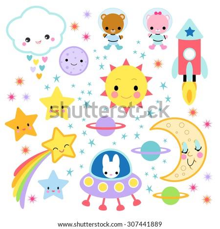 Cute Kawaii Characters in Space - stock vector