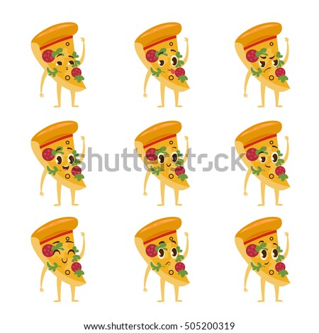 Cute Kawaii fast food characters. Collection of colorful cartoon food character with pizza. Emoticon fast food funny elements. Vector illustration of different emotions isolated on white