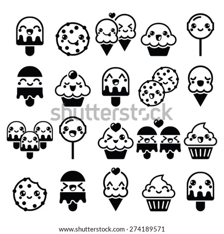 Cute Kawaii food characters - cupcake, ice-cream, cookie, lollipop icons - stock vector