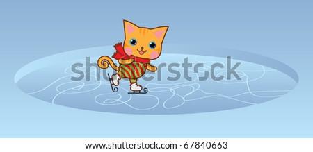 Cute kawaii kitten on ice-skating rink. - stock vector