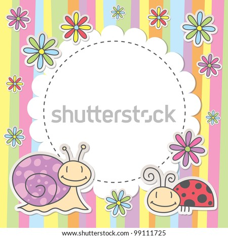 cute kid card with snail and ladybug - stock vector