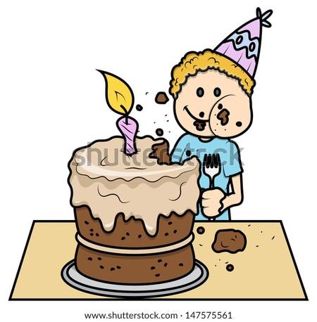 Cute Kid Eating His Birthday Cake - Vector Cartoon Illustration - stock vector