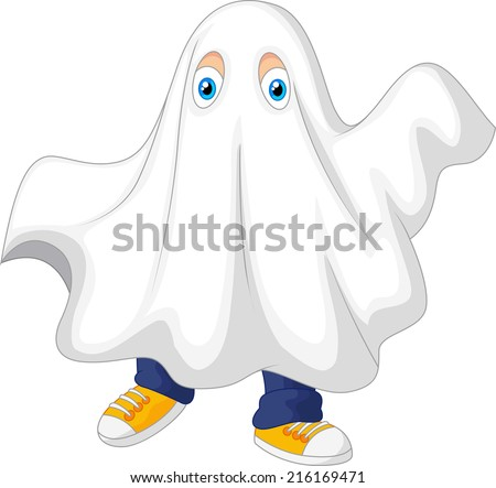 Cute kid in a ghost costume celebrating Halloween - stock vector