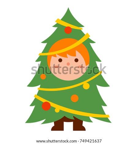 Cute kid in Christmas tree costume cartoon Vector illustration.  sc 1 st  Shutterstock & Cute Kid Christmas Tree Costume Cartoon Stock Vector 749421637 ...