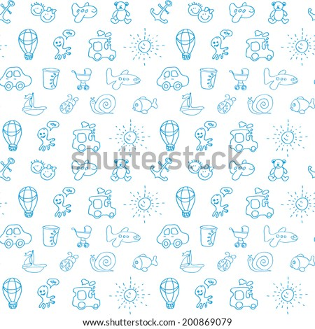 Cute kid seamless pattern in vector. Seamless pattern can be used for wallpaper, pattern fills, web page background, postcards.  - stock vector