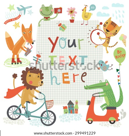 Cute kids background - stock vector