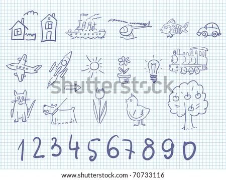 Cute kids doodles - stock vector