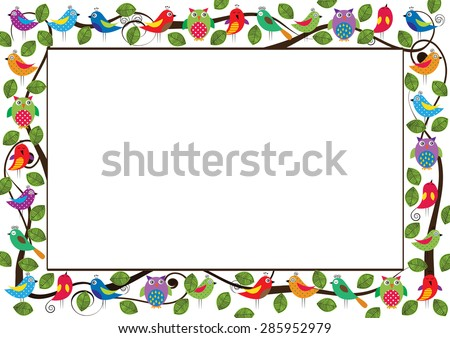 Cute kids frame with colorful birds  - stock vector