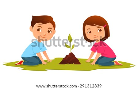 cute kids growing a plant - stock vector