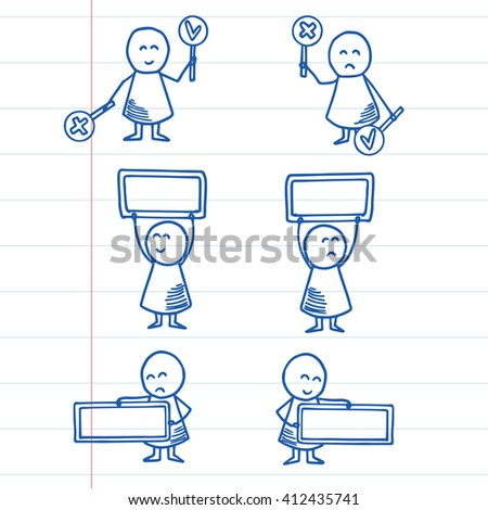 Cute kids holding empty banner for your message. Vector Illustration on striped paper.
