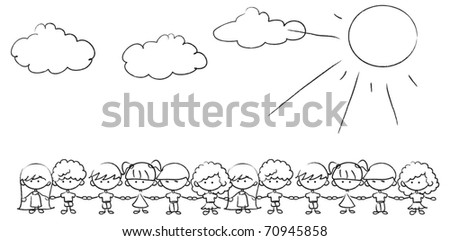 cute kids holding hands, the vector - stock vector