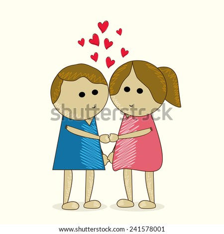 Cute kids holding to each other with red love hearts on white background for Happy Valentine's Day celebration.