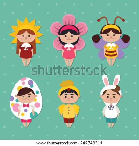 cute kids in funny costumes - Easter costumes - stock vector