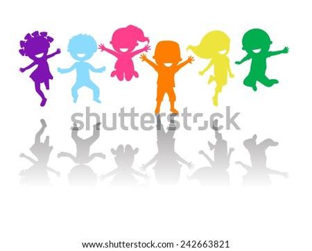 Cute kids jumping - stock vector