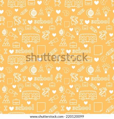 Cute Kids love school doodle seamless pattern  - stock vector