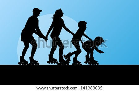 Cute kids, mother, father in roller skates vector background family concept - stock vector