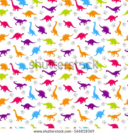 Cute kids pattern for girls and boys. Colorful dinosaurs on the abstract grunge background create a fun cartoon drawing. The background is made in neon colors.  Urban backdrop for textile and fabric.