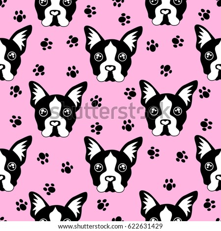 Cute kids pattern for girls and boys. Colorful dogs, Bulldog on the abstract grunge background create a fun cartoon drawing.The background is made in pink colors.Urban backdrop for textile and fabric