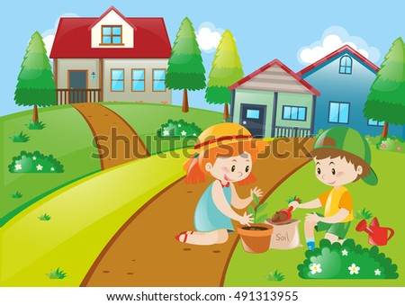 Cute kids planting trees illustration
