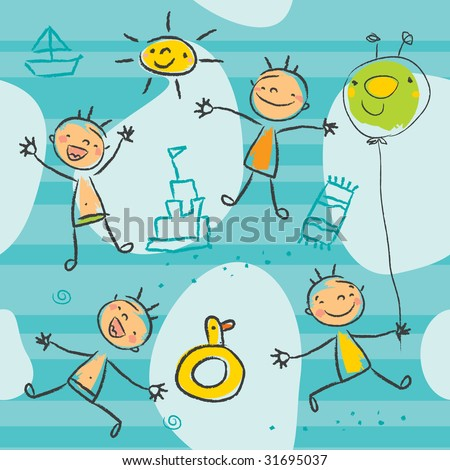 Cute kids playing on the beach, seamless pattern series. Children drawing style vector, grouped and layered for easy editing. - stock vector