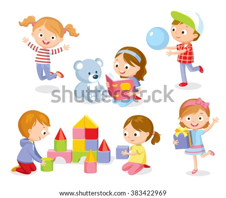 cute kids playing with toys, reading, jumping - stock vector