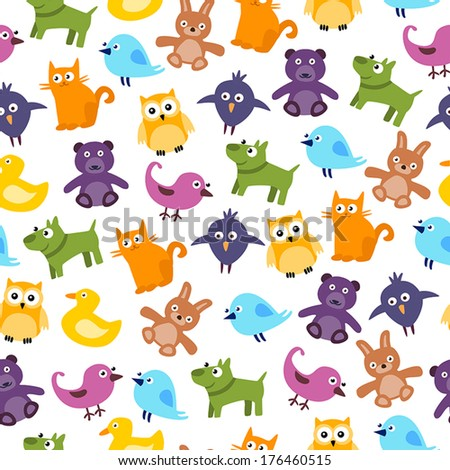 Cute Kids Seamless Pattern With Cartoon Animals - stock vector