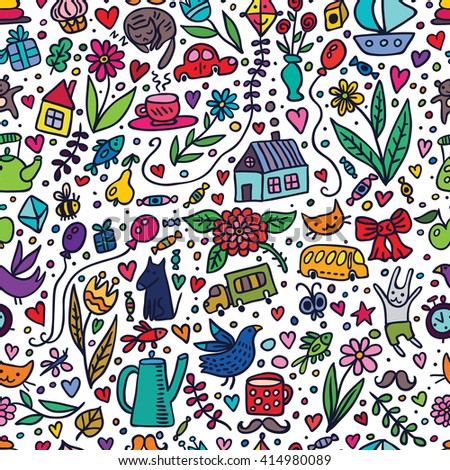 Cute kids seamless pattern with nice things. Joyful bright vector background.