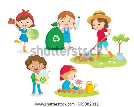 cute kids volunteers - stock vector
