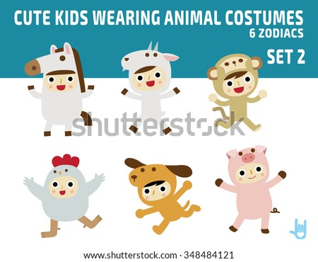 cute kids wearing zodiac animal costumes isolated on white background. diverse of costume and action poses. flat design character illustration. - stock vector