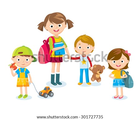 cute kids with toys - stock vector