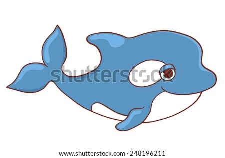 Cute killer whale isolated on white. Vector cartoon illustration. - stock vector