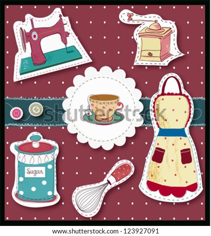 Cute kitchen stickers - stock vector