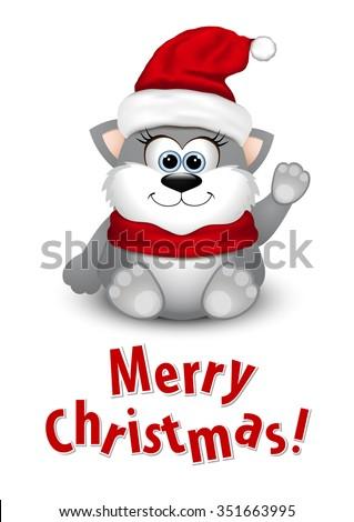 Cute kitten in Santa hat - stock vector
