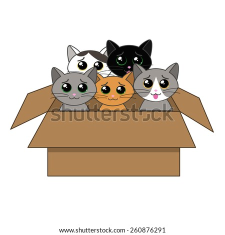 cute kittens looking out of a cardboard box - stock vector