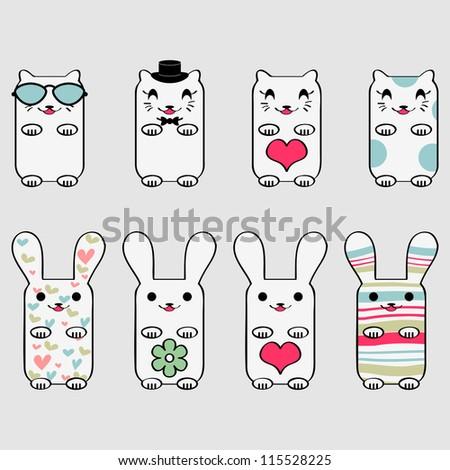 Cute kitty and bunny set - stock vector