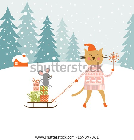 Cute kitty carries the sledge with gifts and little mouse  - stock vector