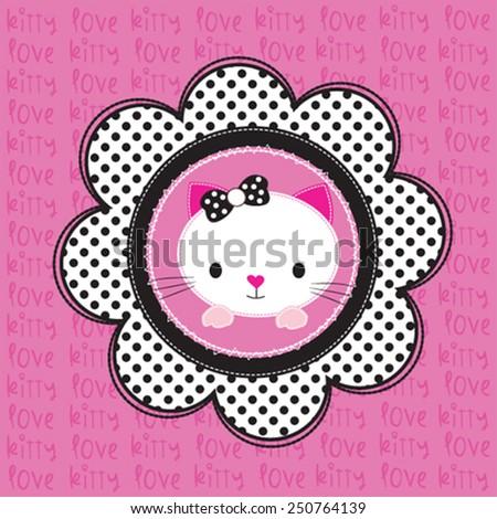 cute kitty love card vector illustration - stock vector