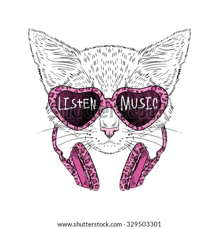 cute kitty portrait in sunglasses and headphones with leopard pattern, hand drawn graphic, t-shirt print - stock vector