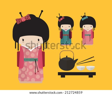 Cute kokeshi doll in kimono with traditional japanese food, tea ceremony. Japan characters vector illustration - stock vector